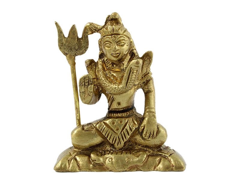 Shiva Statue Messing sitzend mit Dreizack 5,5 cm