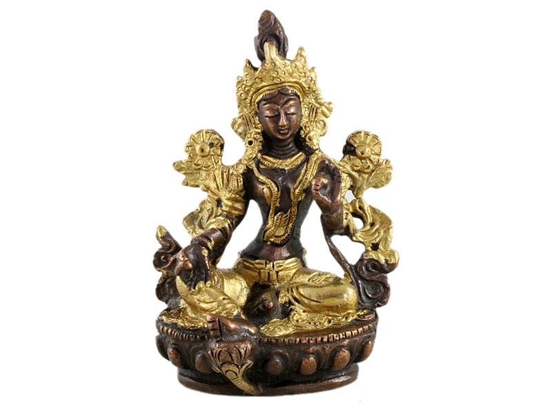 Grüne Tara Statue Messing zweifarbig Goldfarbe 9 cm