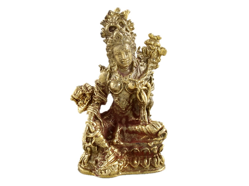 Kleine Mini Grüne Tara Statue aus Messing 3,5 cm