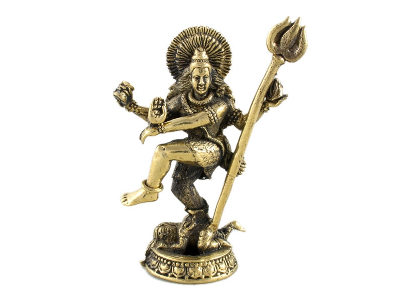 Mini Shiva Statue Figur tanzend Messing 4 cm