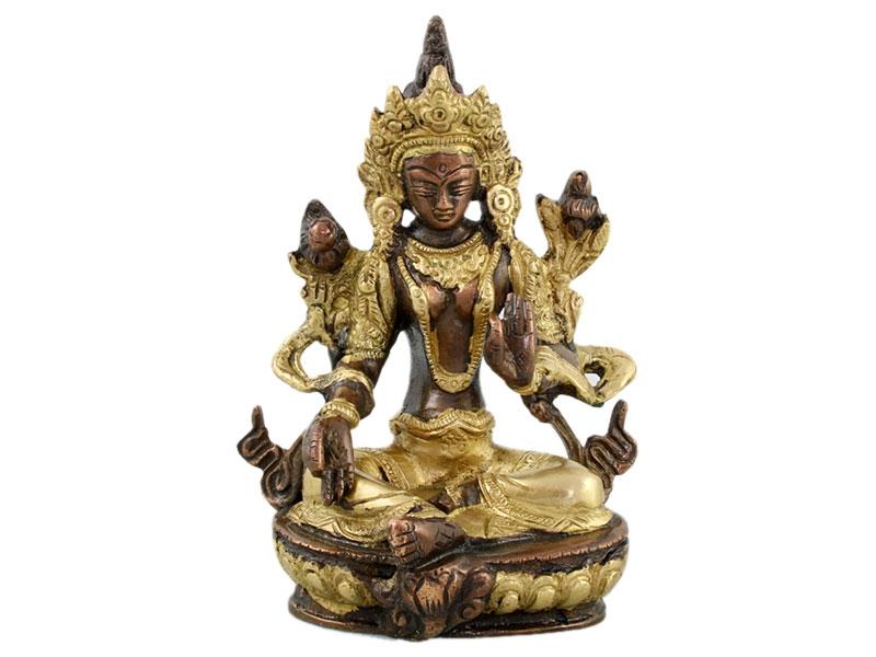 Grüne Tara Statue Messing zweifarbig Goldfarbe 13 cm