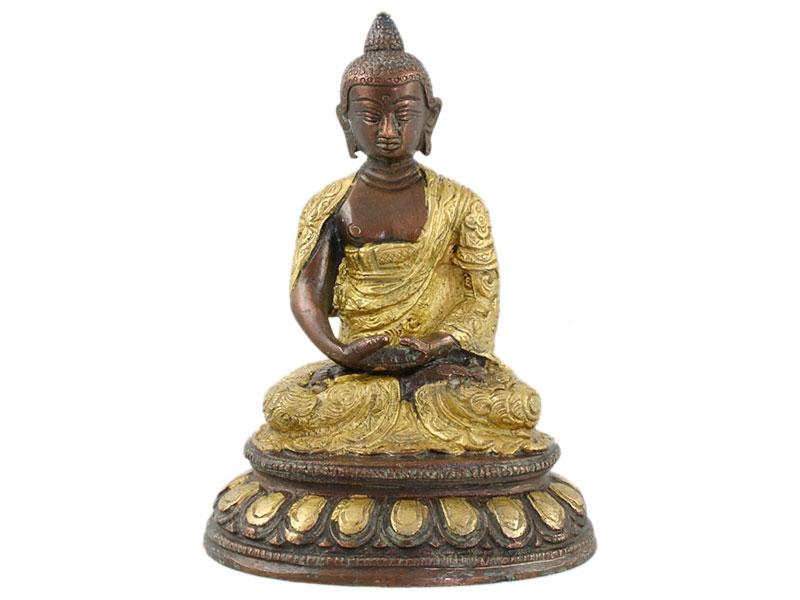 Amitabha Buddha Messing Statue 2 farbig 15 cm