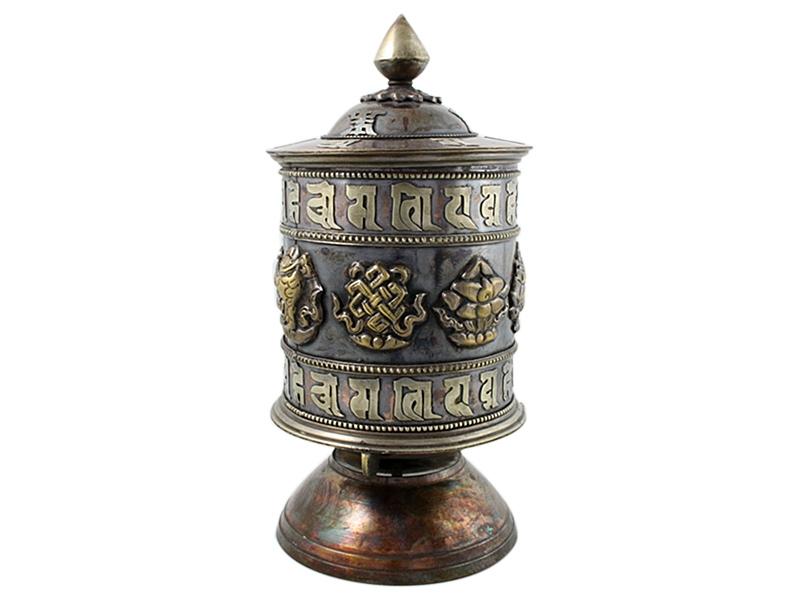Tisch Gebetsmühle stehend Om Mani Mantra Antik-Look