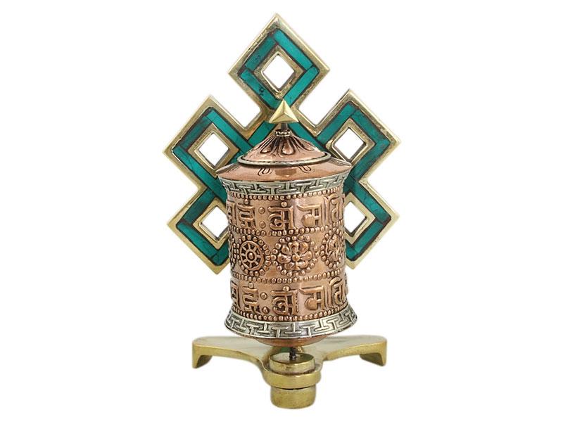 Gebetsmühle Endloser Knoten mit acht Glückssymbolen