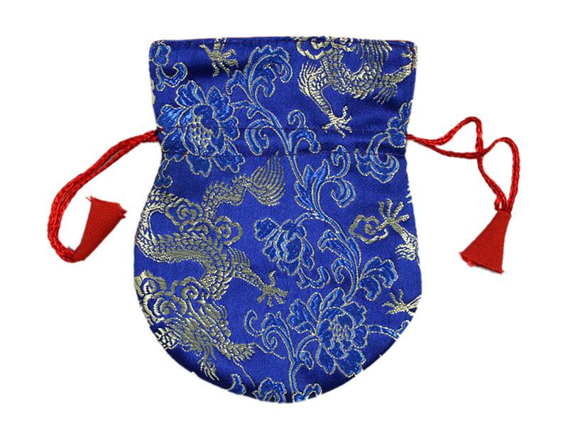 Thaily Brokat Beutel für Schmuck Mala blau 12 cm