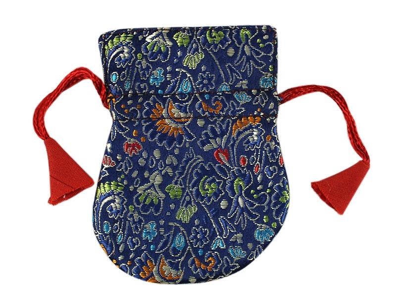 Kleiner Thaily Brokat Beutel Tasche blau 9 cm