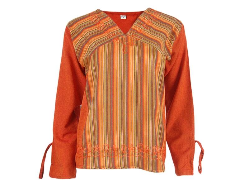 Hippie Goa Shirt Tunika Bluse orange gestreift