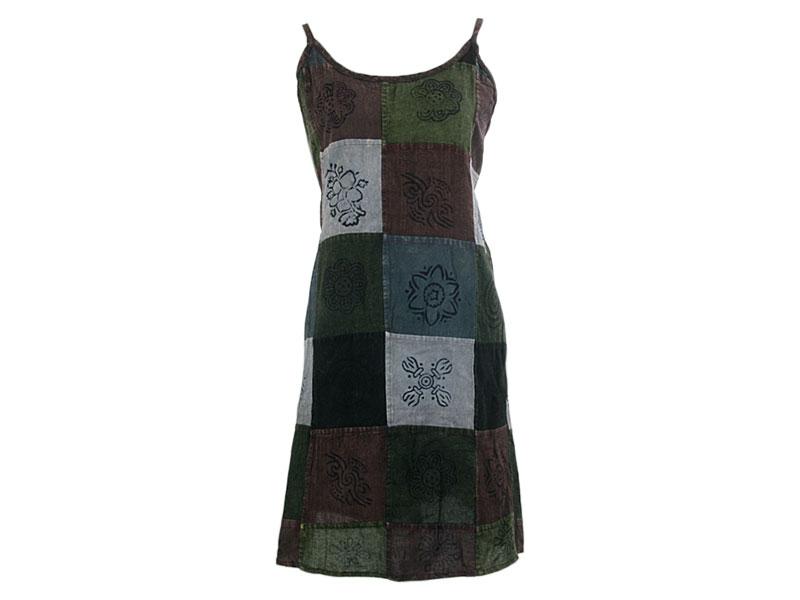 Batik Patchwork Trägerkleid bedruckt braun