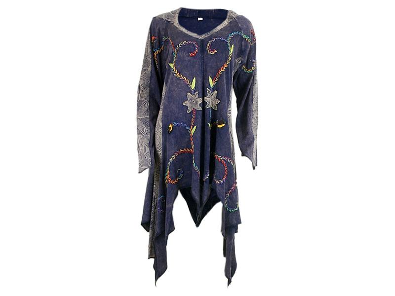Zipfelkleid Elfenkleid mit Zipfelkapuze lila gestreift