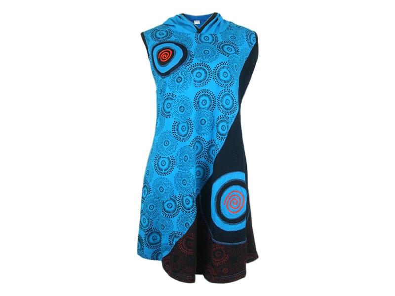 Hippie Damen Kleid Boho Kurzarm mit Spirale