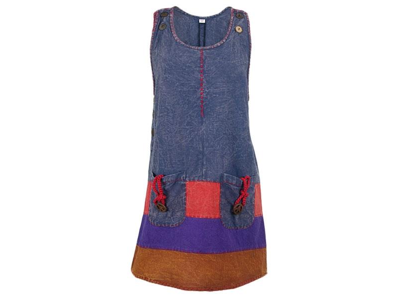 Patchwork Batik Kleid Boho ärmellos mit Stickerei blau