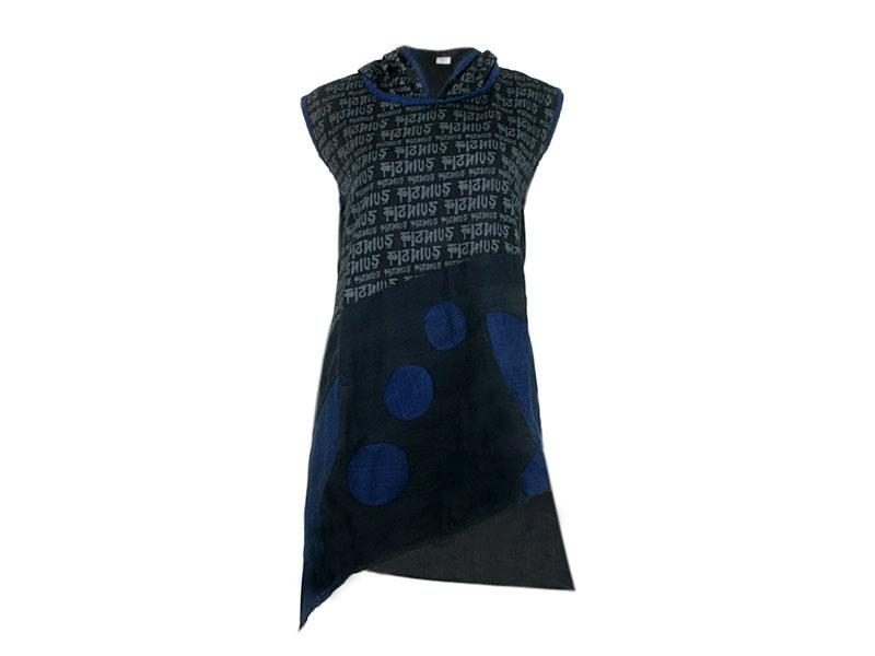Bedrucktes Hippie Goa Zipfel Kleid mit Zipfelkapuze