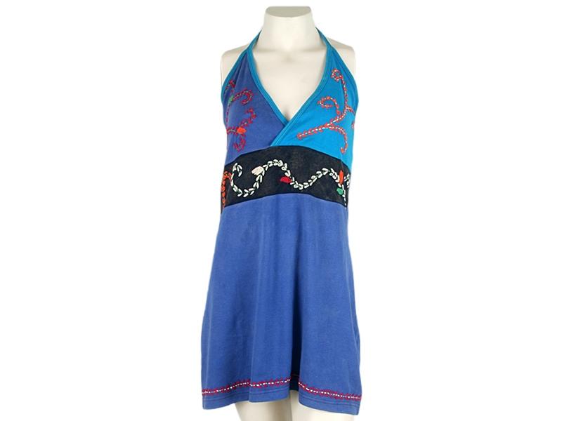 Nepal Hippie Goa Batik Tunika bestickt blau