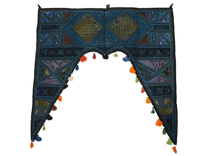 Großer indischer Türbehang Toran dunkelblau