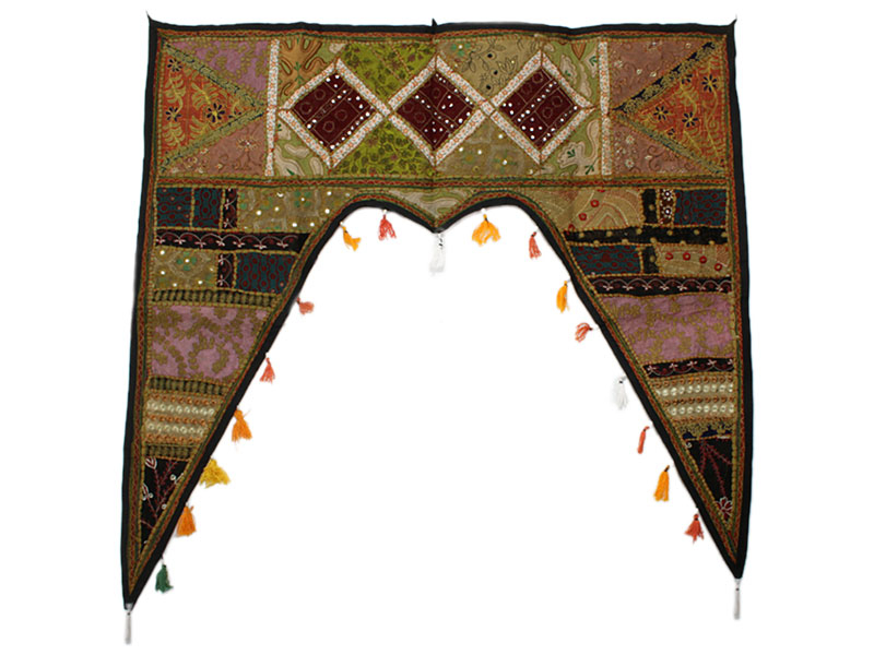 Großer indischer Türbehang Toran grünbraun