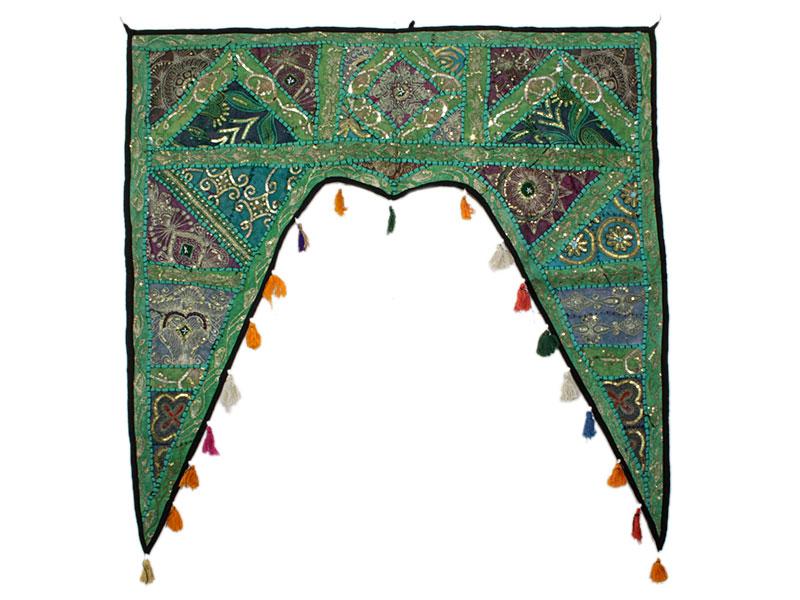Großer indischer Türbehang Toran minzgrün