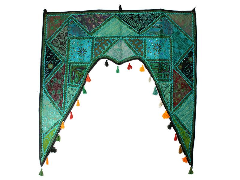 Großer indischer Türbehang Toran türkisgrün