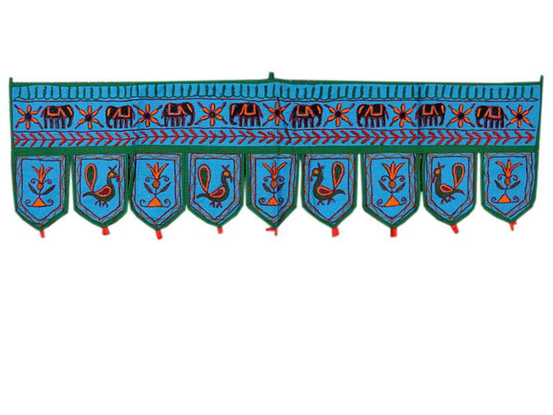 Indischer Türbehang Wandbehang Toran blau