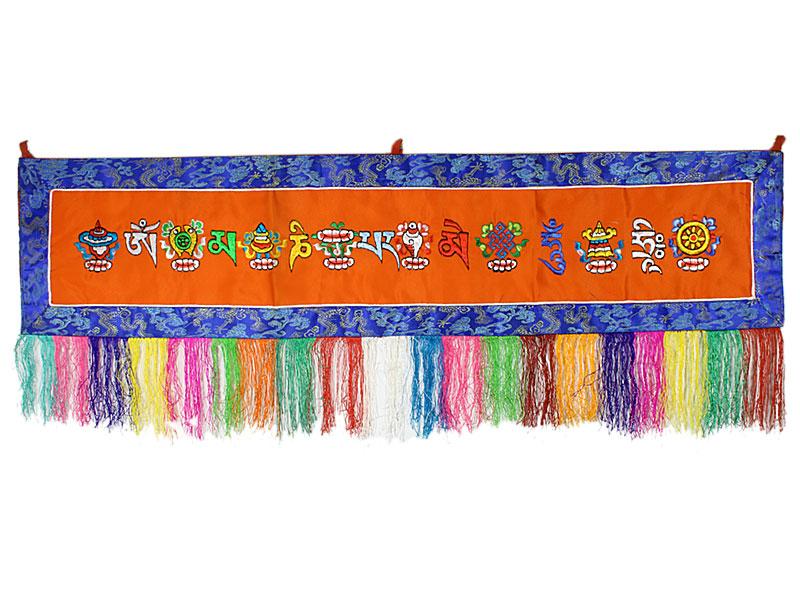 Tibetischer Om Mani Tashi Wandbehang orange
