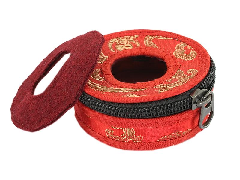 Zimbel Tasche Brokat-Stoffhülle rot 8 cm