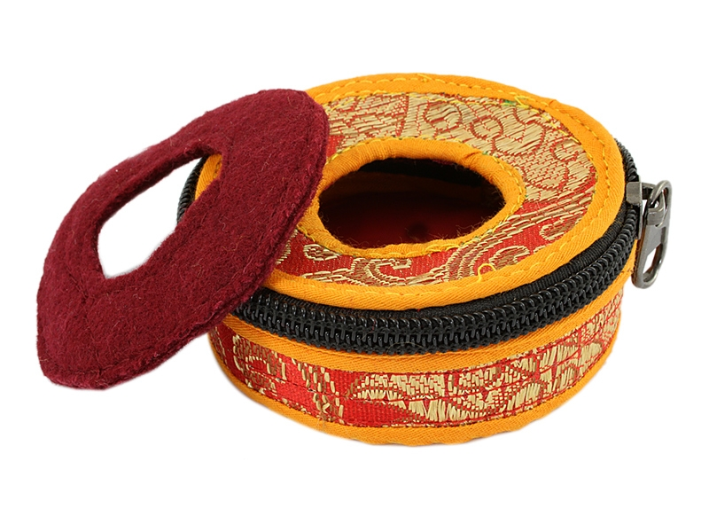 Zimbel Tasche Brokat-Stoffhülle orange rot 8 cm