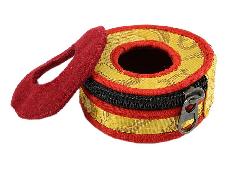 Zimbel Tasche Brokat-Stoffhülle gelb 8 cm