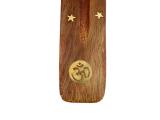 Räucherstäbchenhalter, Schiffchen aus Holz - Om Symbol