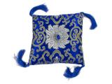 Klangschalenkissen Brokat Lotus blau 15cm