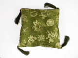Klangschalenkissen Brokat Drache olivgrün 20 cm