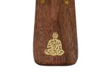 Räucherstäbchenhalter, Schiffchen aus Holz - Buddha