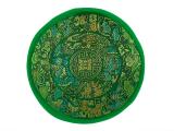 Klangschalenkissen Mandala Satin grün flach 15 cm