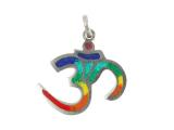 Sieben Chakra Om Anhänger Amulett aus Weißmetall