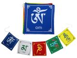 Tibetische Gebetsfahnen - Om Mani Padme Hum 5 Fahnen