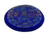 Klangschalenkissen Mandala Satin blau flach 15 cm