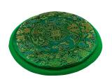Klangschalenkissen Mandala Satin grün flach 14 cm