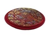 Klangschalenkissen Mandala Satin rot flach 15 cm