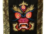 Tibetischer handbestickter Mahakala Türbehang