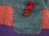 Patchwork Batik Kleid Boho ärmellos mit Stickerei türkis